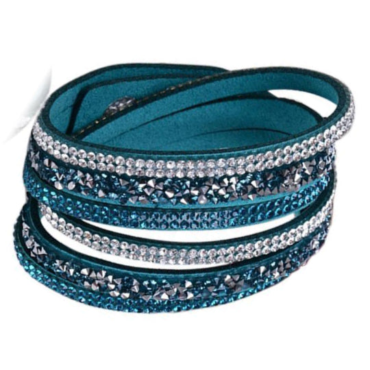 La Mia Cara - Istaphania Dark Blue - Fashionableble Colorful Leather and Crystal Bracelet