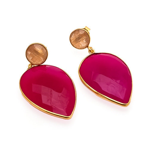 La Mia Cara Jewelry & Accessories - Aura - Gemstone-Fuchsia Chalcedony & Peach Chalcedony Drop Earring
