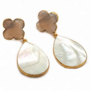La Mia Cara Jewelry & Accessories - Alfio - Gemstone -Shall & Gray Chalcedony Drop Earring