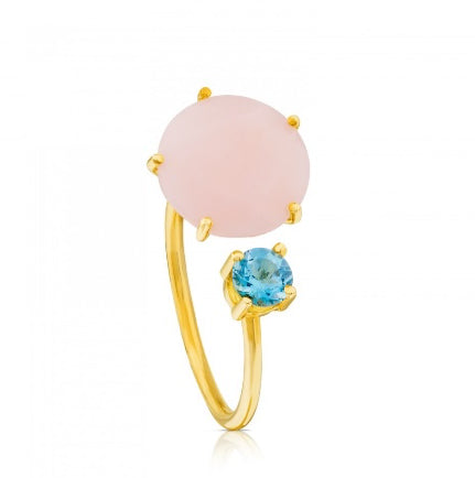 La Mia Cara Jewelry & Accessories - Suri - Gemstone-Pink Chalcedony & Blue CZ Earring & Ring
