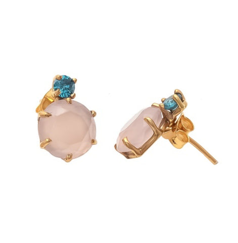 La Mia Cara Jewelry & Accessories - Suri - Gemstone-Pink Chalcedony & Blue CZ Earring