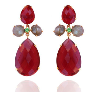 La Mia Cara Jewelry & Accessories - Petal - Gemstone-Ruby Hydro and Labradorite Drop Earring