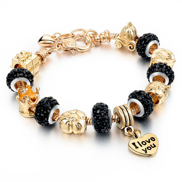 La Mia Cara Jewelry - Felicita Black- 18 Variants of Murano Glass Beads Gold / Silver Heart Charm Bracelet
