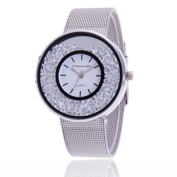 La Mia Cara Jewelry - Chira Silver- Luxury Quartz Watch with Mesh Band