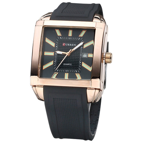 La Mia Cara Jewelry & Accessories - Cameron - Business Square Men Watch with Silicone Strap