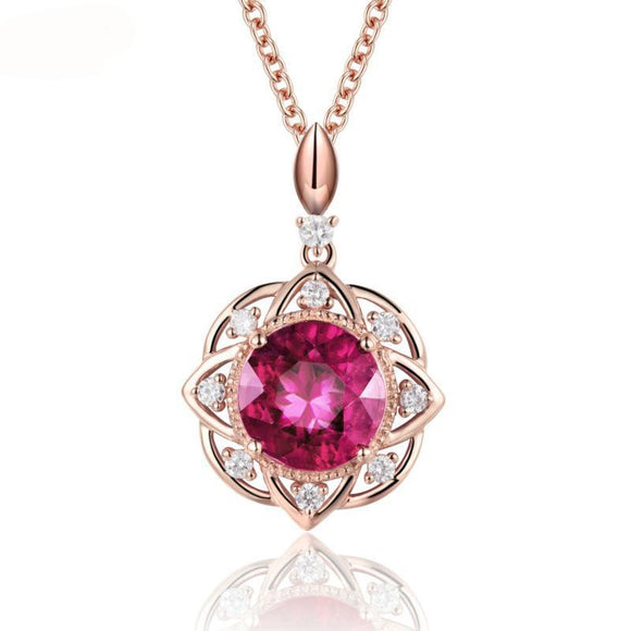 La Mia Cara - Anina - Red Ruby & Natural Diamond Rose Gold Pendant