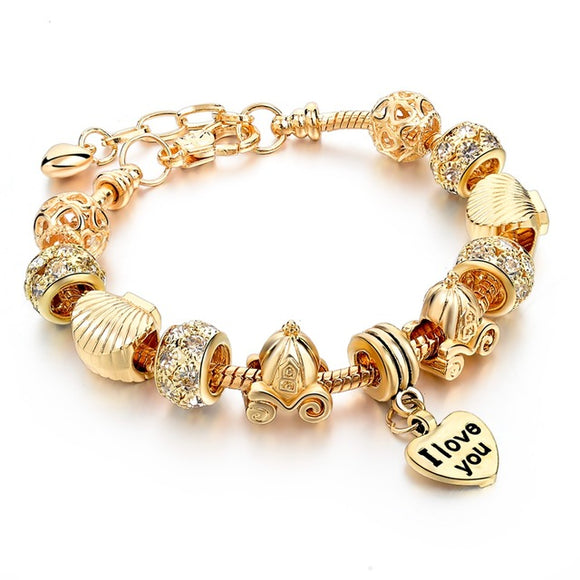 La Mia Cara Jewelry - Felicita Gold B - 18 Variants of Murano Glass Beads Gold / Silver Heart Charm Bracelet