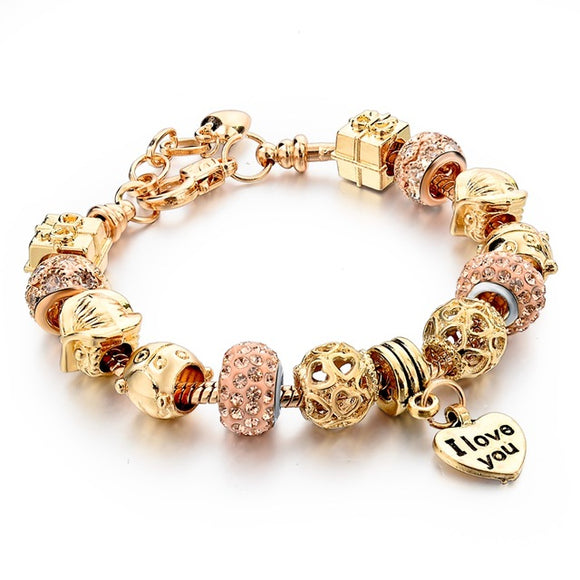 La Mia Cara Jewelry - Felicita Gold E - 18 Variants of Murano Glass Beads Gold / Silver Heart Charm Bracelet