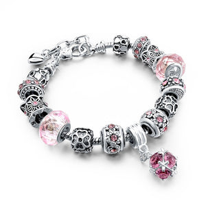 La Mia Cara Jewelry - Felicita Pink -18 Variants of Murano Glass Beads Gold / Silver Heart Charm Bracelet