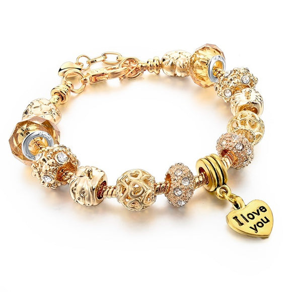 La Mia Cara Jewelry - Felicita Gold F- 18 Variants of Murano Glass Beads Gold / Silver Heart Charm Bracelet