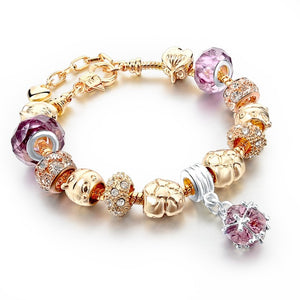 La Mia Cara Jewelry - Felicita Gold G- 18 Variants of Murano Glass Beads Gold / Silver Heart Charm Bracelet