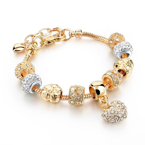 La Mia Cara Jewelry - Felicita Love - 18 Variants of Murano Glass Beads Gold / Silver Heart Charm Bracelet