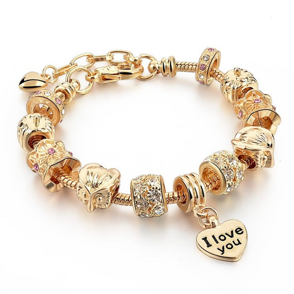 La Mia Cara Jewelry - Felicita Antique S - 18 Variants of Murano Glass Beads Gold / Silver Heart Charm Bracelet