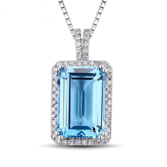 La Mia Cara Jewelry - Davida 3 - Blue Topaz Diamond White Gold Pendant