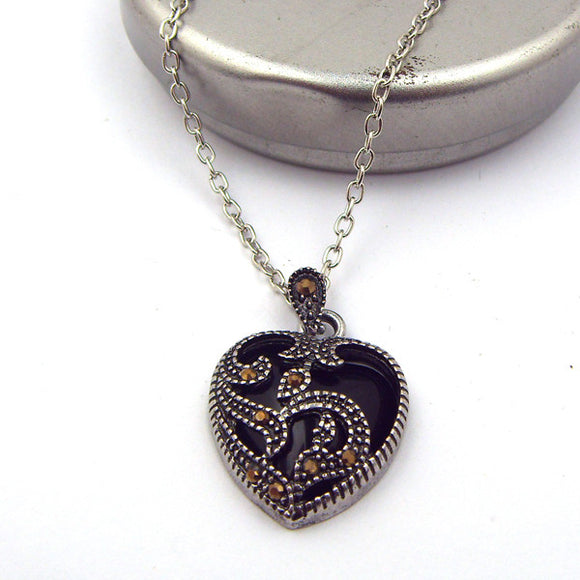 La Mia Cara Jewelry & Accessories -  Marcasite - Black Stone Heart Pendant Necklace