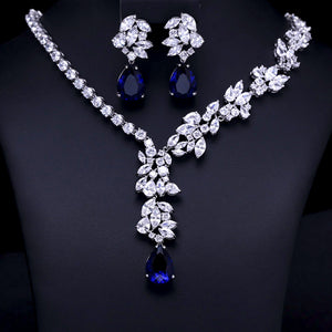 LA MIA CARA - Mathe - Luxury brilliant CZ Diamond Earring and Necklace Jewelry Set