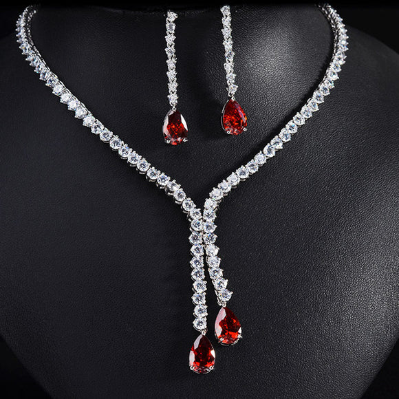LA MIA CARA - Emiliano - Luxury brilliant AAA CZ Diamond Earring and Necklace Jewelry Set