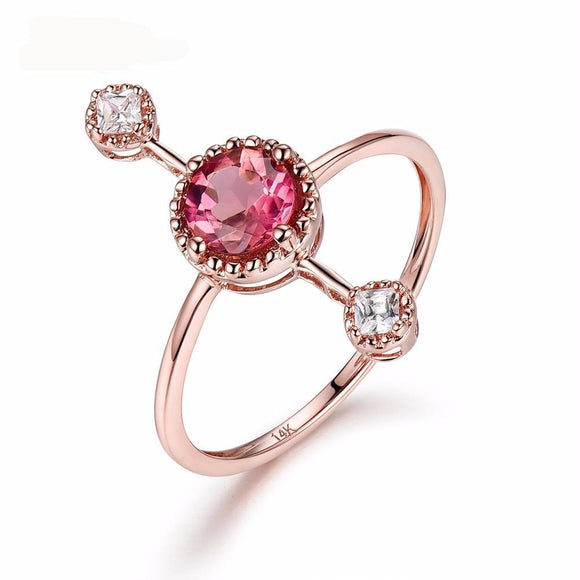 LA MIA CARA - Lia - Red Tourmaline & CZ Diamond Gold Ring