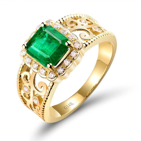 Verdura - Romantic Emerald  Diamond Gold Ring
