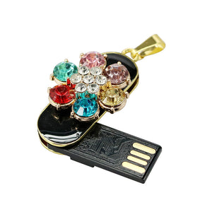 Amu -Multi Color Crystal Flower USB Flash Drive Pendant