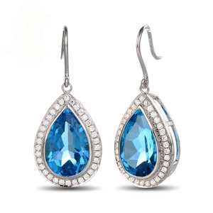 La Mia Cara Jewelry - Davida - Blue Topaz Diamond White Gold Earrings