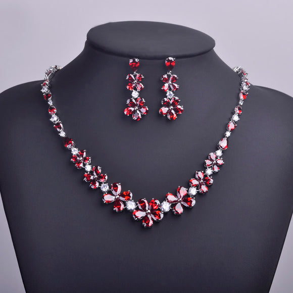 LA MIA CARA - Mati - Classic Red AAA CZ Diamond Earrings Necklace Jewelry Set