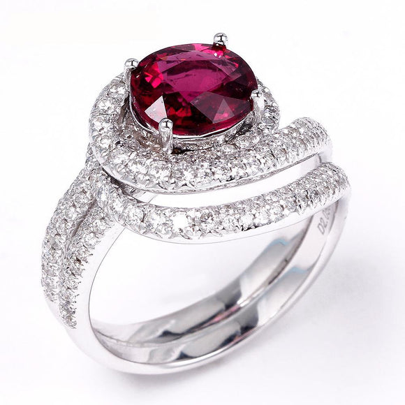 LA MIA CARA - Stella - White Gold Rubellite / Diamond Engagement Ring