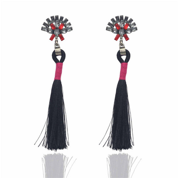 LA MIA CARA  - Black Sylvie - New Trendy Ethnic Bohemia Tassel Earrings