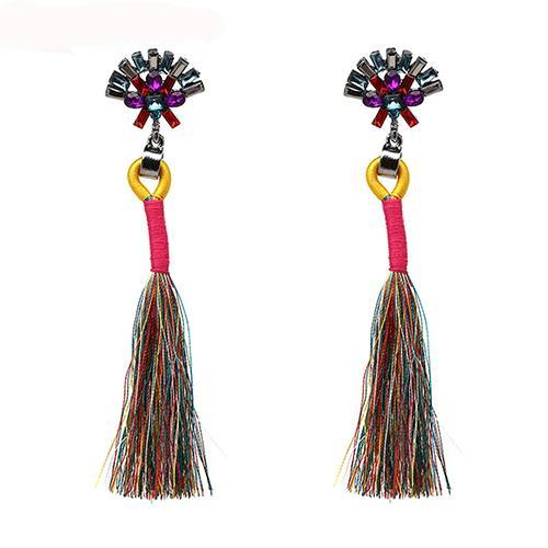 LA MIA CARA  - Multi Color Sylvie- New Trendy Ethnic Bohemia Tassel Earrings
