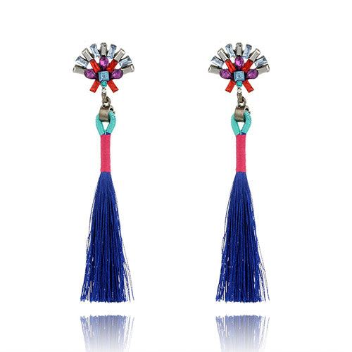 LA MIA CARA  - Saphire Sylvie- New Trendy Ethnic Bohemia Tassel Earrings