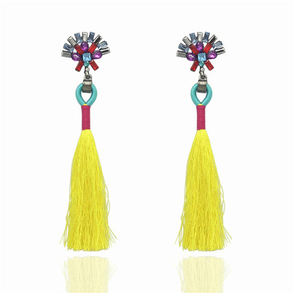 LA MIA CARA  -Yellow Sylvie- New Trendy Ethnic Bohemia Tassel Earrings