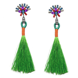 LA MIA CARA  - Green Sylvie- New Trendy Ethnic Bohemia Tassel Earrings