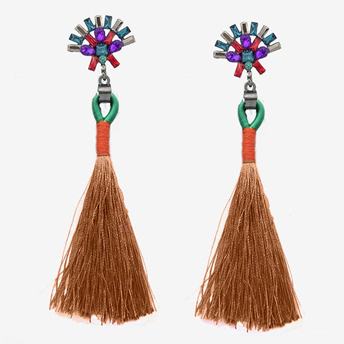 LA MIA CARA  - Brown Sylvie - New Trendy Ethnic Bohemia Tassel Earrings