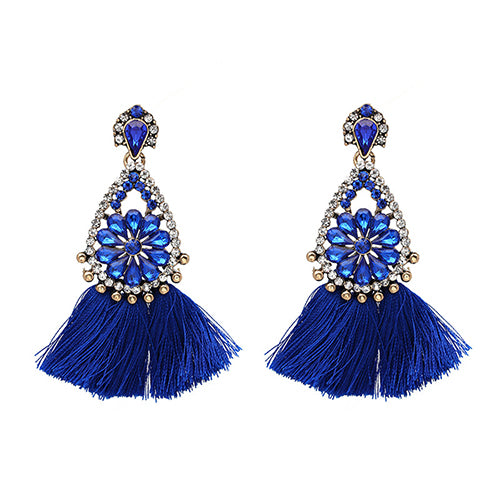 LA MIA CARA  - Dark Blue Sylvie- New Trendy Ethnic Bohemia Tassel Earrings