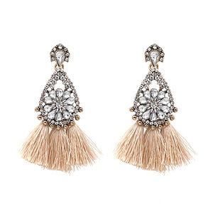 LA MIA CARA  -Nude  Sylvie - New Trendy Ethnic Bohemia Tassel Earrings