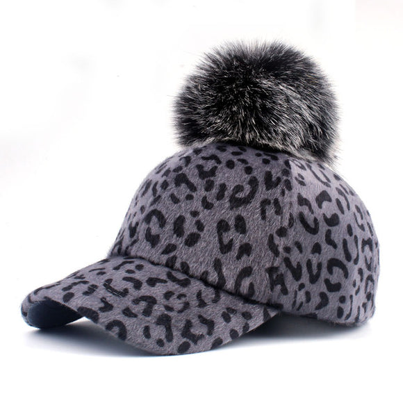 La Mia Cara  - Leopardo Cappelli Invernali - Mom & Daughter Partnerlook Pompom Baseball Cap