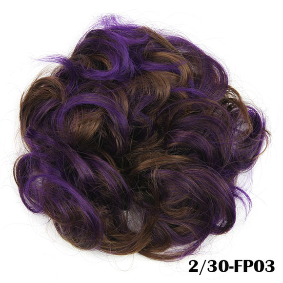 Baba Riccio -  Purple 3 Satin Curly Messy Bun Hair