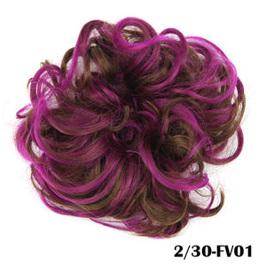 Baba Riccio -  Pink 5 Satin Curly Messy Bun Hair