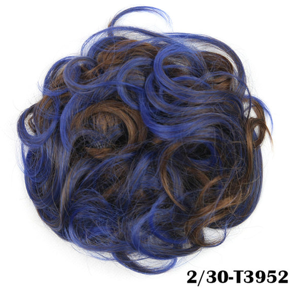 Baba Riccio -   Blue 1 Satin Curly Messy Bun Hair