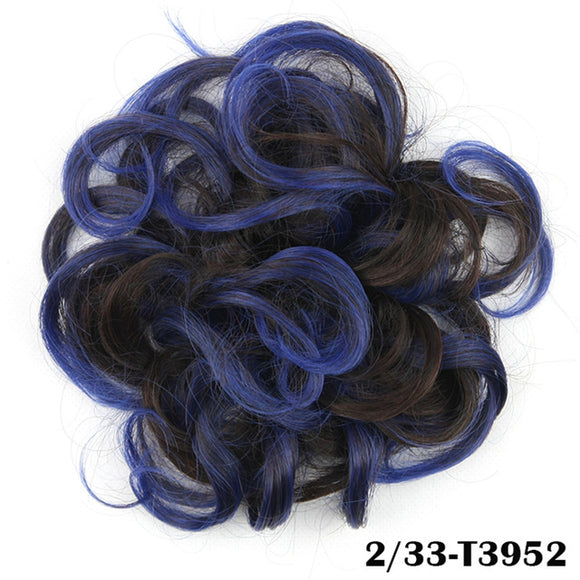 Baba Riccio -   Blue 2 Satin Curly Messy Bun Hair