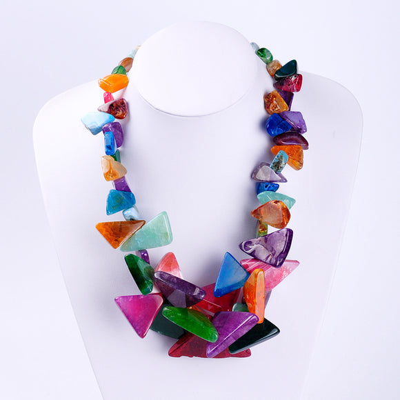 LA MIA CARA - Lena- Multi-Color Natural Semi-Precious Stone Chain Necklace