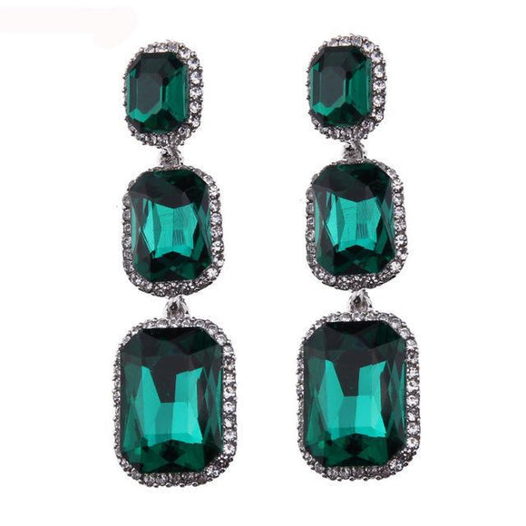 LA MIA CARA - Pierre - Crystal Long  Drop Earrings
