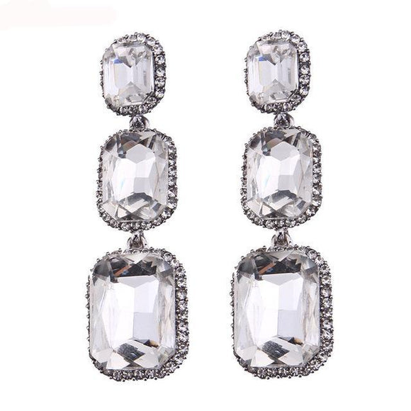 LA MIA CARA - Pierre -Crystal Long  Drop Earrings