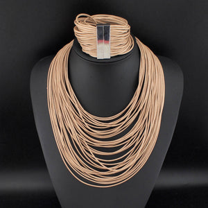 Cinderella - Beige Casual Statement Necklace & Bracelets Sets