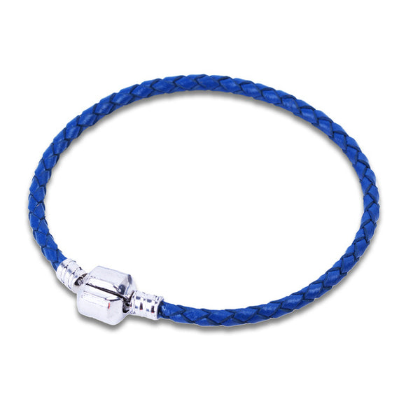 La Mia Cara Jewelry - Orso-  Blue Leather with Silver Clip Pandora Style Bracelet
