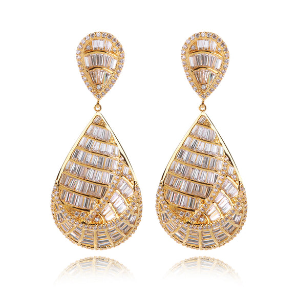 BRANKA GOLD- CZ DIAMOND GOLD / PLATINUM DONUTS SHAPE DROP EARRINGS