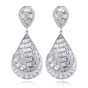 BRANKA SILVER- CZ DIAMOND GOLD / PLATINUM DONUTS SHAPE DROP EARRINGS