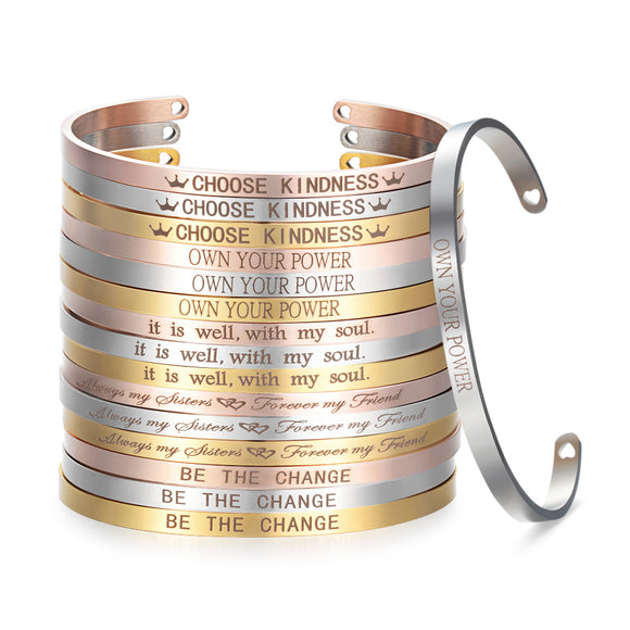 LA MIA CARA JEWELRY - Inspirational Quote Cuff Bracelet