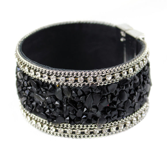 La Mia Cara Jewelry - Ninfa - Leather Coloured Crystal Bangle Bracelet