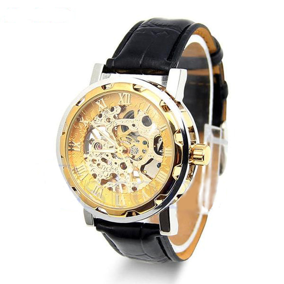 La Mia Cara Jewelry & Accessories - Ben- Classic Men's Gold Dial Skeleton Wrist Watch